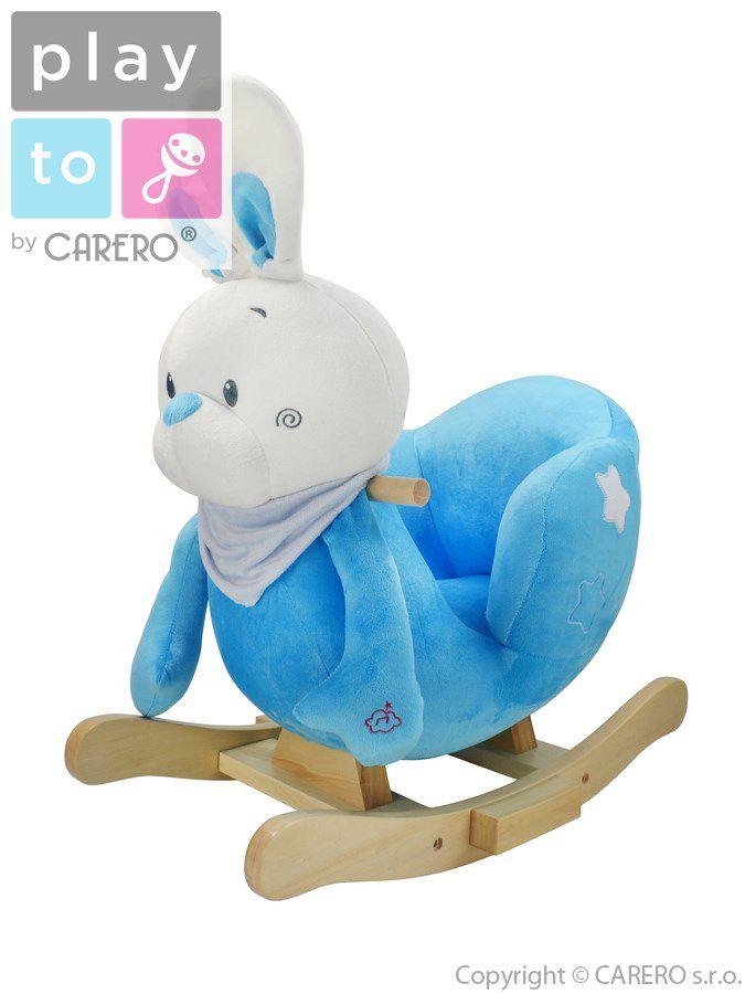 Houpací hračka PlayTo králíček modrá + ZÁRUKA 3 ROKY